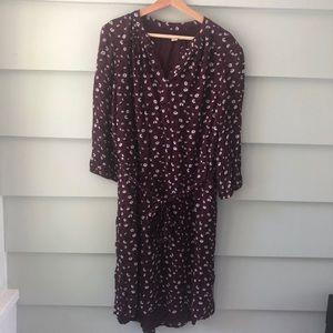 Caslon Belted Maroon Floral Print Dress Size L